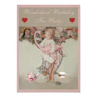 """Alicia y fiesta del té rosada del cumpleaños del invitación 4.5"""" x 6.25"""""""