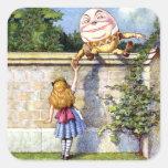 Alicia y Humpty Dumpty en el país de las maravilla Pegatinas Cuadradases
