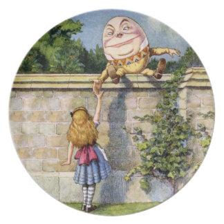 Alicia y Humpty Dumpty en el país de las maravilla Platos Para Fiestas