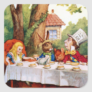 Alicia y la fiesta del té del sombrerero enojado pegatina cuadrada