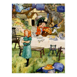 Alicia y la fiesta del té del sombrerero enojado postal