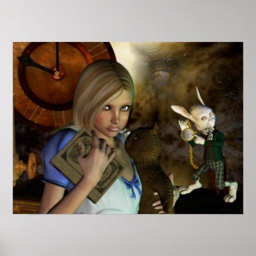 Alicia y la impresión blanca del conejo posters