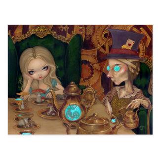 Alicia y la postal enojada del steampunk del sombr