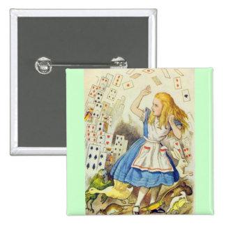 Alicia y las tarjetas a todo color pin cuadrada 5 cm