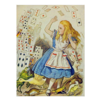 Alicia y las tarjetas a todo color póster