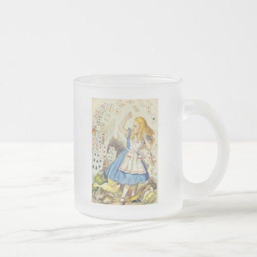 Alicia y las tarjetas a todo color taza de cristal