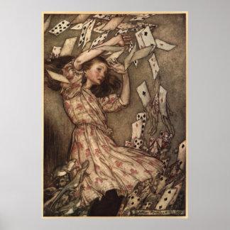 Alicia y las tarjetas de Arturo Rackham Póster