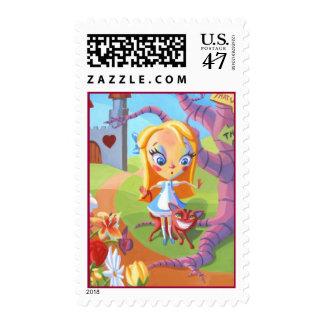 Alicia y país de las maravillas timbre postal