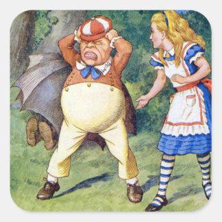 Alicia y Tweedledee en el país de las maravillas Pegatina Cuadrada