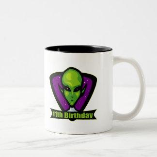 Alien 11th Birthday Gifts Two-Tone Coffee Mug