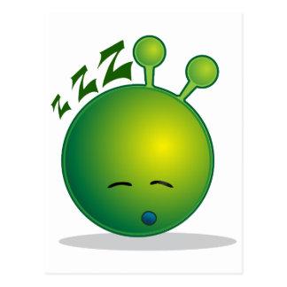 alien-294250  alien smiley green sleepy sleeping t postcard