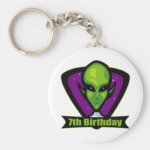Alien 7th Birthday Gifts Basic Round Button Keychain