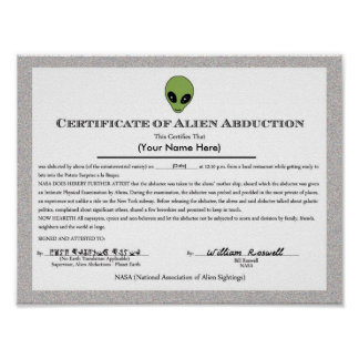 Alien Abduction Certificate Poster