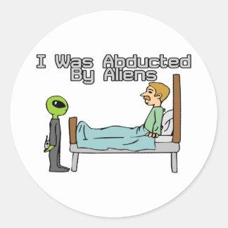 Alien Abduction Classic Round Sticker