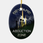 Alien Abduction Door Hanger Double-Sided Oval Ceramic Christmas Ornament