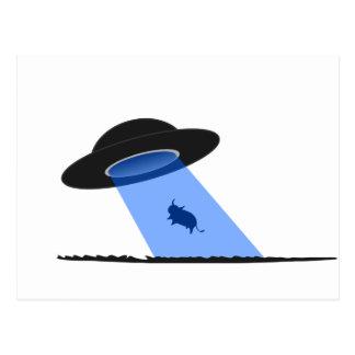 Alien Abduction of a Cow - UFO Postcard