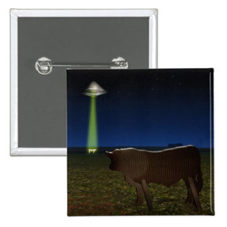 Alien Abduction of Fake Cows in the Pasture Pinback Buttons