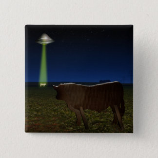 Alien Abduction of Fake Cows in the Pasture Pinback Button