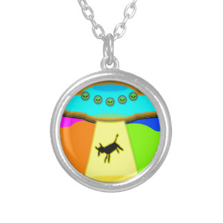 Alien Abduction Silver Plated Necklace