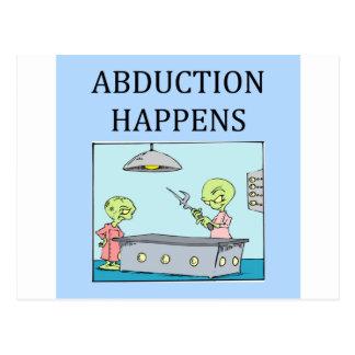 alien abduction ufo joke. postcard