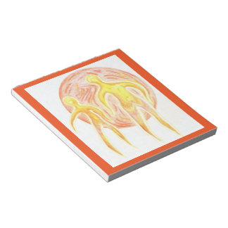Alien Abstract Art Notepad Red Gold