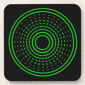 Alien Alarm Green Abstract Gamma Light Coasters