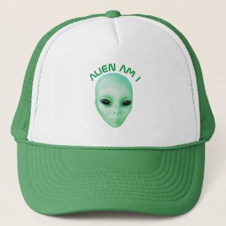 Alien Am I Green Funny Alien Face With Black Eyes Trucker Hat