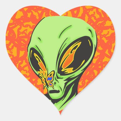 Alien and Butterfly Sticker