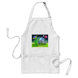 Alien and Flying Saucer on Moon Adult Apron