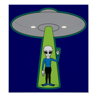 Alien and Flying Saucer Poster