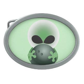 Alien and Green Bowling Ball Belt Buckle