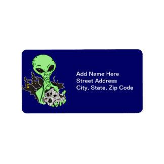 Alien and Human Skull Address Label