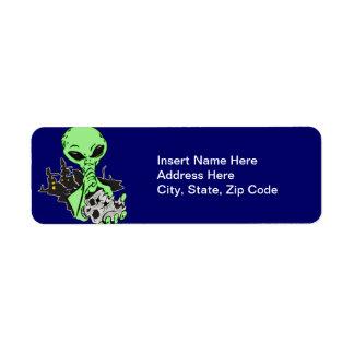 Alien and Human Skull Return Address Label