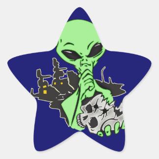 Alien and Human Skull Star Sticker