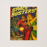 Alien and Spaceman Fighting Over Beautiful Woman Puzzle