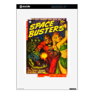 Alien and Spaceman Fighting Over Beautiful Woman iPad 2 Skins