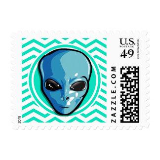 Alien Aqua Green Chevron Stamps