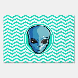 Alien; Aqua Green Chevron Lawn Signs