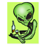 Alien At The Local Bar Postcards