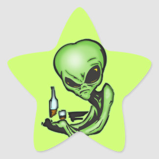 Alien At The Local Bar Star Sticker
