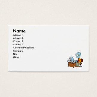 Alien at tiny computer desk business card