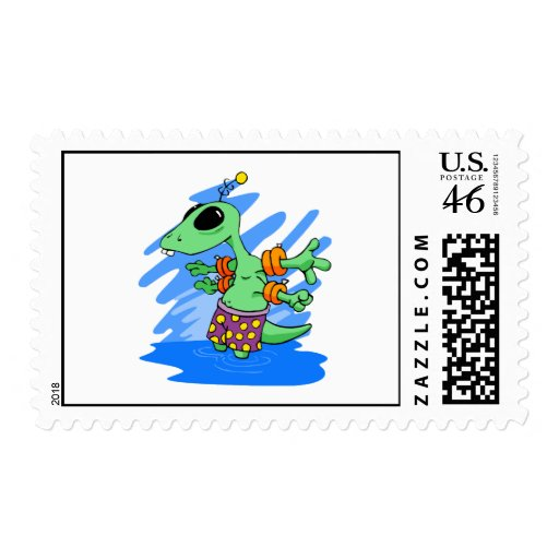 Alien Baby in Swimmies Postage Stamps