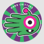 Hand shaped Alien Baby Tooth Classic Round Sticker