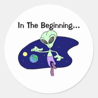 Alien Beginning Classic Round Sticker