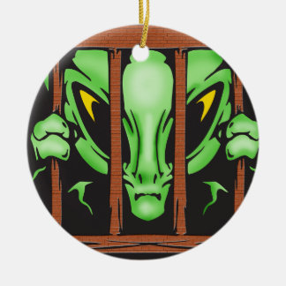 Alien Behind Bars Double-Sided Ceramic Round Christmas Ornament