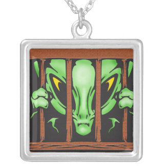 Alien Behind Bars Silver Plated Necklace