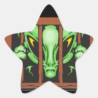 Alien Behind Bars Star Sticker