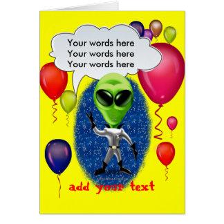 Alien Birthday Party Theme Card