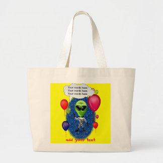 Alien Birthday Party Theme Large Tote Bag