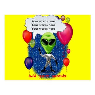 Alien Birthday Party Theme Postcard